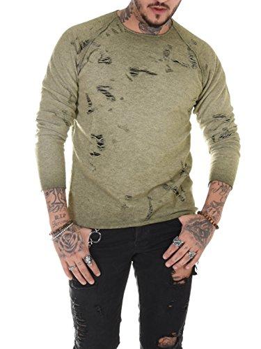 BAXMEN CULTWEAR Destroyed Sweat Shirt Zerrissen Zerfetzt Baumwolle Herren Sweater Regular Fit mit Grün Medium