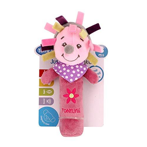 (NiceButy Baby Rassel Spielzeug für Babys, niedliches Anime-Design, weich, Lernspielzeug für Babys, Rot/Violett)