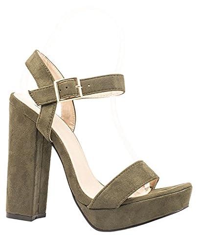 Femmes plateforme Escarpins Mary Jane talon bloc talons hauts Chaussures-vert foncé-39