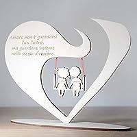 Cuore da Scrivania personalizzato in legno con frase e nomi a scelta Regalo di San Valentino e Anniversario per coppia…