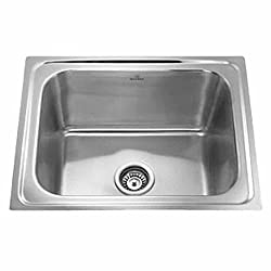 SS Sink Stainless Steel Single Bowl - (Chrome, 24*18*8 inches)