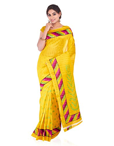 Roopkala Women Cotton Printed Saree(PD-1603,Yellow)