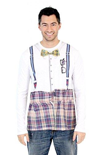 Nerd Long Sleeve Herren Kostüm T-Shirt (XX-Large)