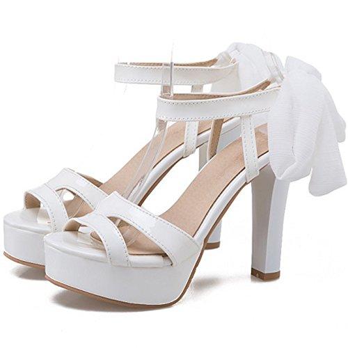 COOLCEPT Femmes Mode Lacets Sandales Orteil ouvert Slingback Bloc Chaussures Blanc