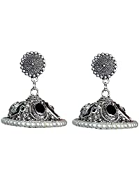 [Sponsored]Sansar India Enamal Stud Oxidized Silver Plated Jhumki Earrings For Girls And Women