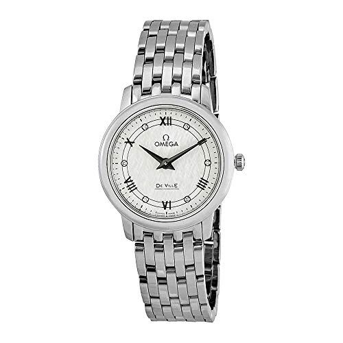 Omega De Ville Prestige 424.10.27.60.52.002 Montre pour Femme avec Cadran en Diamant Blanc argenté
