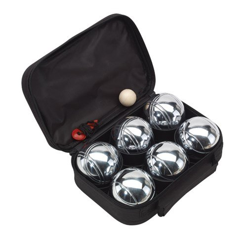 Boule Lot de 6 boules en métal, boule en bois et rouge messf Aden, dans un étui noir fermeture éclair