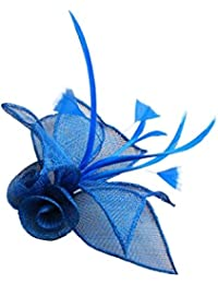 Turquoise Sinamay Double Flower and Feather Beak Clip Brooch Corsage Fascinator