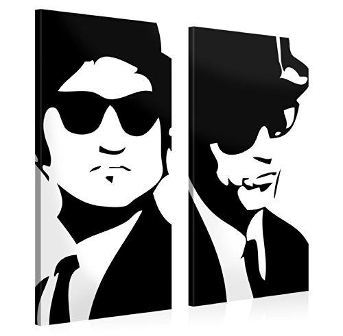 Gallery of Innovative Art - Blues Brothers - 105x100cm - Larga stampa su tela per decorazione murale - Immagine su tela su telaio in legno - Stampa su tela Giclée - Arazzo decorazione murale