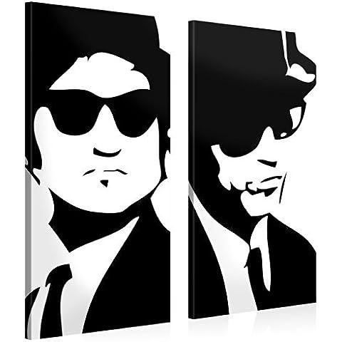 Gallery of Innovative Art – Blues Brothers – 105x100cm – Larga stampa su tela per decorazione murale – Immagine su tela su telaio in legno – Stampa su tela Giclée – Arazzo decorazione murale