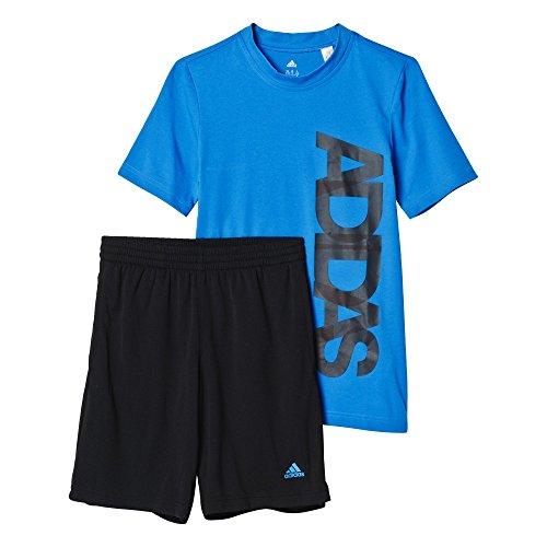 Jungen Sportbekleidung (adidas Jungen Trainingsanzug YB TS Sum Set Blau, 152)