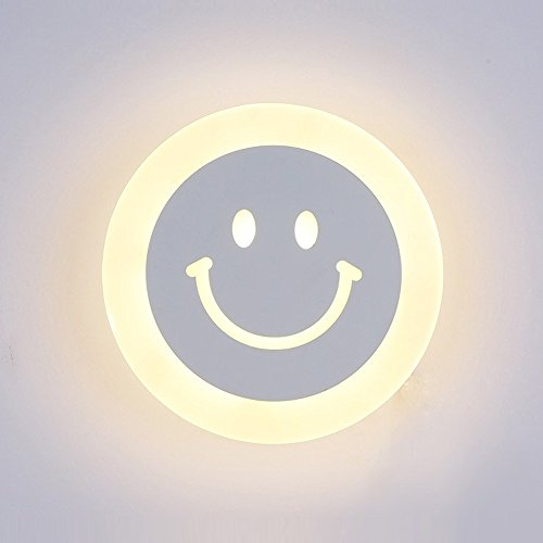 Modern LED Wandleuchte Smiley-Gesicht Runder Wandlampe Weiß Acryl Lampenschirm Wandbeleuchtung Eisen Lampe/Leuchte für Wohnzimmer Schlafzimmer Korridor Bar, L20cm,12W, Warmes Licht