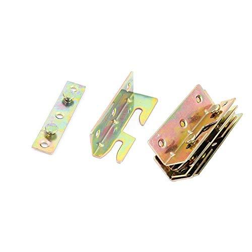 XMHF Bettgeländer/Halterungen für Bettgeländer, strapazierfähig, Holz-Schnappverbinder, ohne Einsteckverbindungen, Messing, 4 Stück -