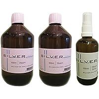 Preisvergleich für Kolloidales Silber 2X 500ml | 25ppm Flasche + 100ml | 25ppm Sprühflasche pur | Set