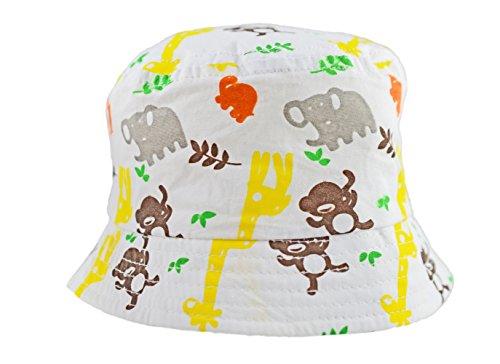 ba8475ec0d4 Sun Hat Cotton Bucket Style Summer Beach Hat. White with Safari Animal  Print Unisex Boys Girls 0-3