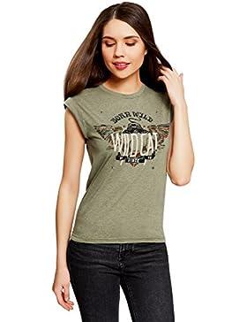 oodji Ultra Mujer Camiseta Estampada con Dobladillos en las Mangas