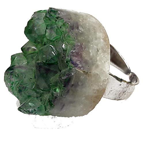 El Coral Anillo geode Amatista Verde 27 mm. Plateado Ajustable
