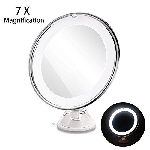 RUIMIO Vergrößerungsspiegel Kosmetikspiegel beleuchtet mit 7-facher Vergrößerung 360° Schwenkbar und Saugnapf-Grundplatte