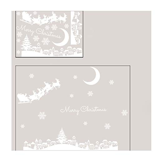 Moonuy 1 Stück Wandaufkleber Weihnachten Tür Dekoration Restaurant Mall Dekoration Schnee Glas Fenster Abnehmbare Aufkleber Brief Drucken ()