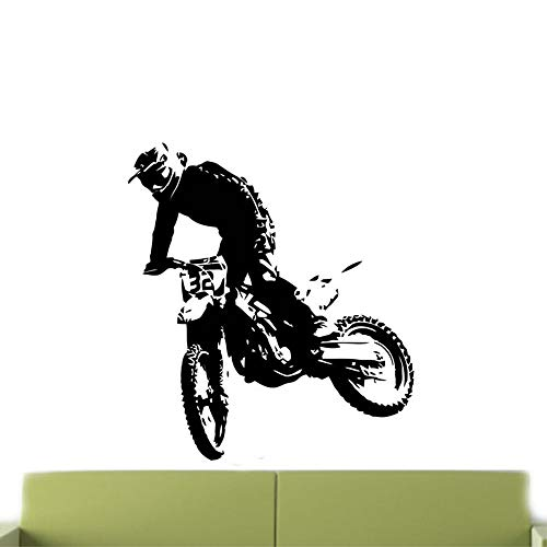 guijiumai Moto Sticker Salon Home Decor Vinyle Stickers Muraux Motocross Vélo Teen Boys Chambre Décoration Murale Papier Peint Blanc 57x74 cm
