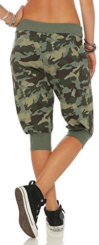 malito Baggy kurz im Camouflage-Design Boyfriendhose 8017 Damen One Size Oliv