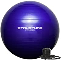 Structure Fitness 65CM Gym Ball Exercise Yoga Swiss Core Fitness - deal for core strength training, stretching, toning, resistance exercise and more- Hand-pump included.