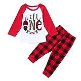 MRULIC Baby 2Passt Baby Playsuit Zweiteiliger Schlafanzug Mädchen Jungen Langarm Hohe Taille Pyjam 3Monate-2 Jahre Höhe Weihnachten SchlafanzugOutfit Top Hose Set (C-Rot,75-80CM)