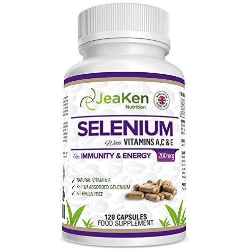 SELENIO ACE di JeaKen - Qualità Superiore SELENIO Supplemento - Selenio + Vitamine A, C, E - Per Immunità Ed Energia - Fertilità E Funzionalità Tiroidee - Prodotto Nel Regno Unito