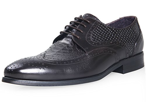 ELANROMAN - Brogue uomo , marrone (Brown), 43 (Scarpe Snakeskin Mens)