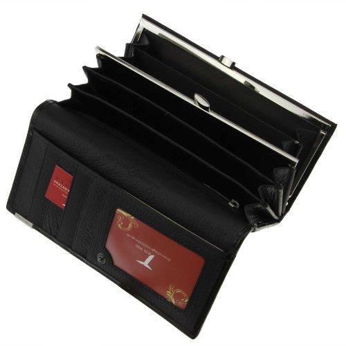 FakeFace Lady Lang Echtleder Geldbörse Geldbeutel mit Krokodil Muster Freizeit Portemonnaie Handytasche Brieftasche Geld Clip (Schwarz)