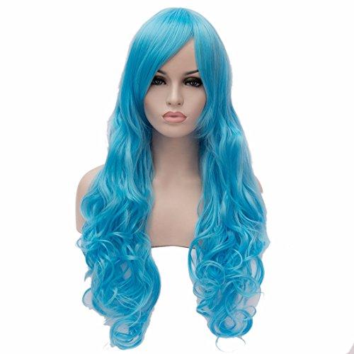Nid Cap + Ciel Perruque Bleu Chaleur Diy Résistantes Femmes Douces Sexy 80Cm Perruque Cospaly