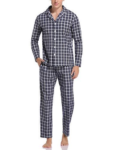 Aibrou Herren Schlafanzug lang Karierter Pyjama Set Zweiteilige Nachtwäsche Langarm mit V-Ausschnitt und Knopfleiste Dunkelblau+Weiß XXL
