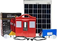 Puhor 50 Watt Solar Lighting System for Outdoor Home with 20 Watt Solar Panel and 12V 6Ah LiFePO4 Lithium ion