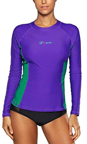 ALove Damen Rashguard UV Shirt Langarm Schwimmshirt UV Schutz 50+ Violett S (Shirt Damen Bereich)