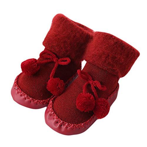 Sunday_Babykleidung Baby Socken Weihnachten Winter Baumwolle Söckchen,Sunday Neugeborene Kleinkind Jungen Mädchen Krippeschuhe Unisex Dicke Sock Krabbelschuhe (Rot, 12-18 Monate)