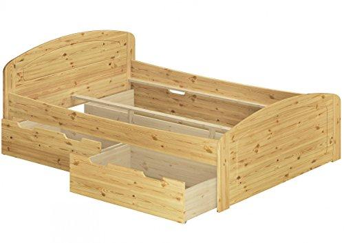 Erst-Holz® Funktionsbett Doppelbett 3 Bettkasten 180x200 Seniorenbett Ehebett Massivholz Kiefer 60.50-18 or