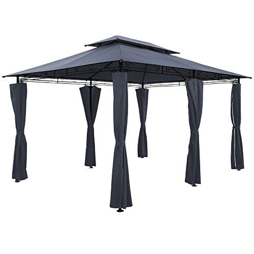 Deuba - Tonnelle Topas • Anthracite • 4x3 m • Pavillon, Tente de Jardin, Barnum, Extérieur Fête • Tonnelle de Jardin - terrasse
