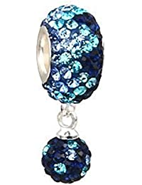 "'Andante de Stones 925plata de ley cristal pavé Dangle Bead Charm ""Ice Element bola para European Beads + Traumhandel"