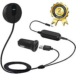 Besign Kit Bluetooth de Voiture, Récepteur Bluetooth, Adaptateur Audio Mains-Libres Bluetooth 4.1 avec Micro, Base Magnétique et Isolateur de Terre de Bruit pour Audio de Voiture