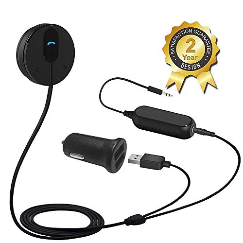 Besign Kit Vivavoce Bluetooth 4.1 Auto, Ricevitore Audio Bluetooth con Built-in Microfono, 3.5mm Jack Aux, Isolatore di Rumore e Base Magnetica