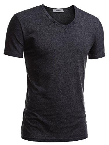 KAIUSI Herren Slim Fit Kurzarm Basic V-Ausschnitt Tee NOOS T-Shirt Dunkelgrau