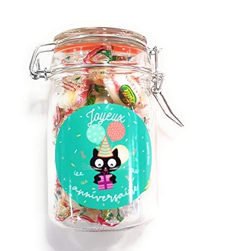 Bubbe Gum - Bocal - Joyeux Anniversaire Chat - Bonbon Arlequins - Couleur Multicolore