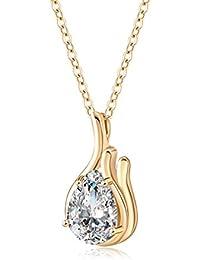 18803f9996ec YAZILIND Joyeria Delicada 18K Oro Plateado Cristal de Oro en Forma de  Corazon Colgante Collar de