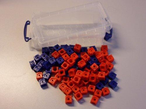 100 Steckwürfel 2-farbig (rot, blau) in der praktischen Box, 1,7cm, allseitig steckbar