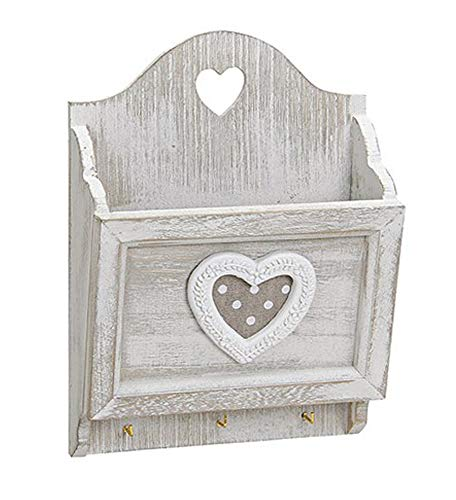 Kartenhalter Postablage Fach mit Haken 17x24 cm, Holz Shabby Grau Weiß mit Herz Landhaus Vintage Briefablage Briefhalter