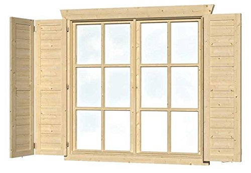 SKAN HOLZ Fensterläden für Doppelfenster Gartenhäuser - Zubehör, natur, 2.5 x 57.5 x 123.5 cm