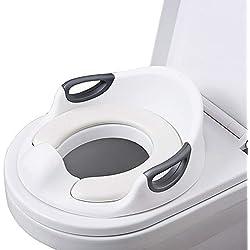 AiKiddo Reducteur de toilette Siège de Toilette Pour Bébés anti-dérapant avec Poignée de Coussin pour des Toilettes Ronds/Ovales (blanc)