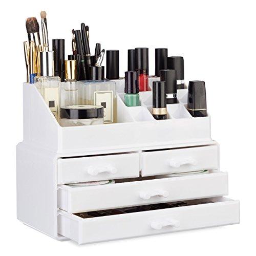 Relaxdays Make Up Organizer mit 4 Schubladen, 12 Lippenstift Halter und 4 Ablagen für Kosmetik, Acryl Make Up Kit, weiß