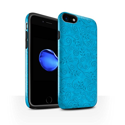 STUFF4 Glanz Harten Stoßfest Hülle / Case für Apple iPhone 8 / Gelb Muster / Blatt-Strudel-Muster Kollektion Türkis