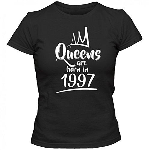 Queens are born in 1997 T-Shirt   Geburtstags-Shirt   Jahrgang   20. Geburtstag   Frauen   Shirt Schwarz (Deep Black L191)